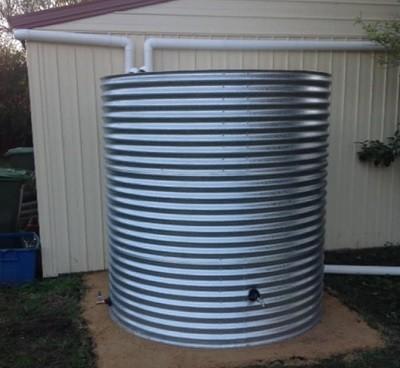 galvanised metal rainwater harvesting water tanks